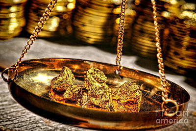 Gold Pan Photograph - Weighing Gold by Olivier Le Queinec