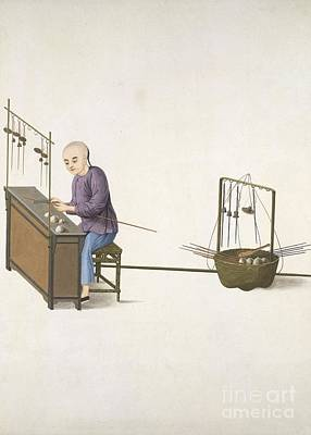 Weighing Scale-maker, 19th-century China Art Print by British Library