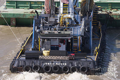 Photograph - Weight Lifter On Tug Boat ' Jesus Saves ' by D Wallace