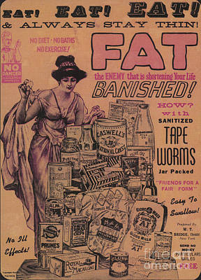 Weight Loss Ad Sanitized Tapeworms Art Print by Science Source