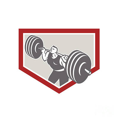 Weightlifter Lifting Barbell Shield Retro Art Print