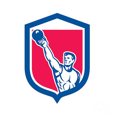 Physical Fitness Digital Art - Weightlifter Lifting Kettlebell Shield Retro by Aloysius Patrimonio