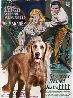 Painting - Weimaraner Art Canvas Print - A Streetcar Named Desire Movie Poster by Sandra Sij