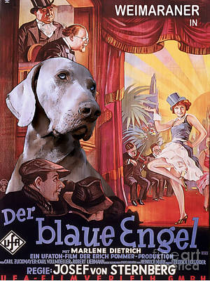 Painting - Weimaraner Art Canvas Print - Der Blaue Engel Movie Poster by Sandra Sij