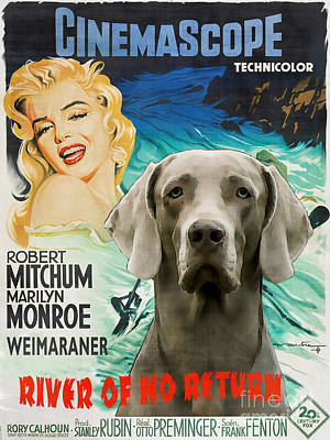 Painting - Weimaraner Art Canvas Print - River Of No Return Movie Poster by Sandra Sij