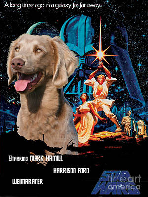 Painting - Weimaraner Art Canvas Print - Star Wars Movie Poster by Sandra Sij