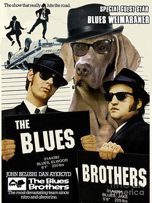 Painting - Weimaraner Art Canvas Print - The Blues Brothers Movie Poster by Sandra Sij