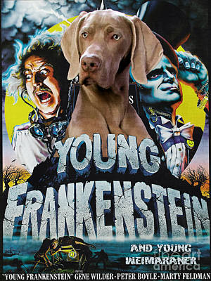 Painting - Weimaraner Art Canvas Print - Young Frankenstein Movie Poster by Sandra Sij