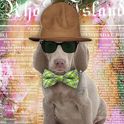 Abstract Mixed Media - Weimaraner Bowtie Collection by Marvin Blaine