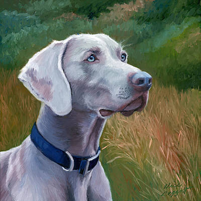 Field Grey Painting - Weimaraner Dog by Alice Leggett