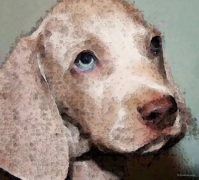 Weimaraner Dog Art - Forgive Me Art Print by Sharon Cummings