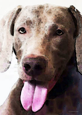 Weimaraner Painting - Weimaraner Dog Art - Happy by Sharon Cummings