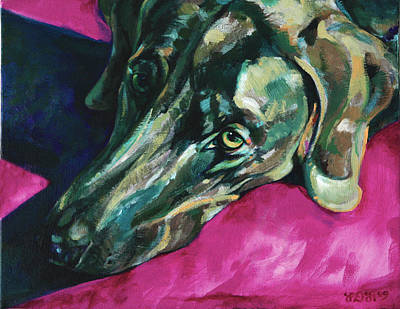 Weimaraner-dog In Shadows Original by Derrick Higgins