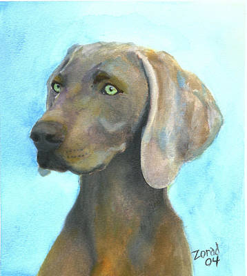 Painting - Weimaraner Dog by Mary Jo Zorad