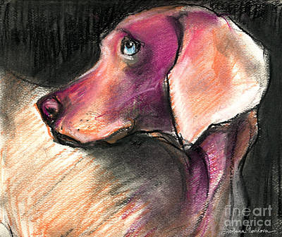 Dog Portrait Painting - Weimaraner Dog Painting by Svetlana Novikova