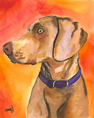 Painting - Weimaraner by Mary Jo Zorad