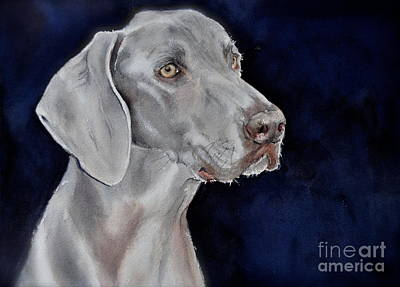 Painting - Weimaraner Named Harley by Kathy Flood