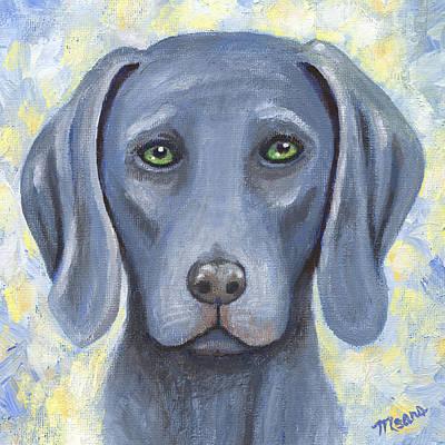 Friend Painting - Weimaraner Puppy Portrait by Linda Mears