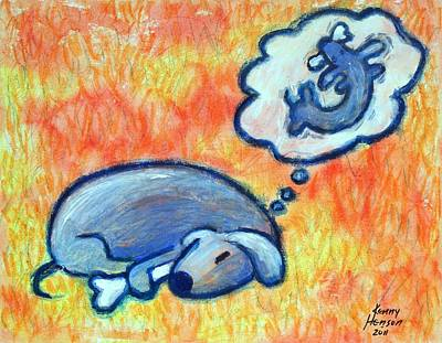 Asleep Mixed Media - Weiner Dog Dreaming About Bone by Kenny Henson