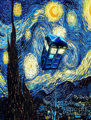 Tardis Painting - Weird Flying Phone Booth Starry The Night by Three Second