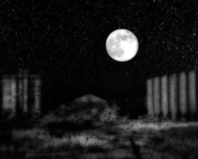 Old Buildings Digital Art - The Brilliant Full Moon Lit The Night Sky by Gothicrow Images
