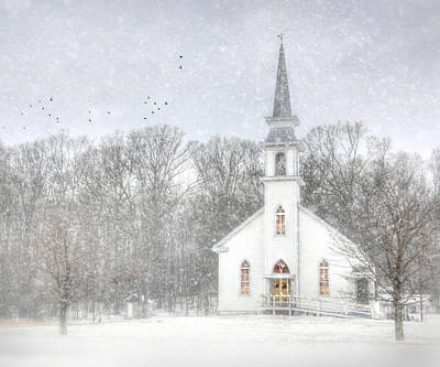 Snowy Digital Art - Weishample Church by Lori Deiter
