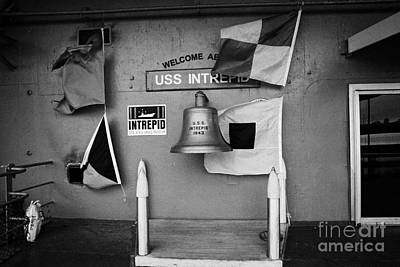 Welcome Aboard Sign Flags And Uss Intrepid Bell At The Intrepid Sea Air Space Museum Art Print by Joe Fox