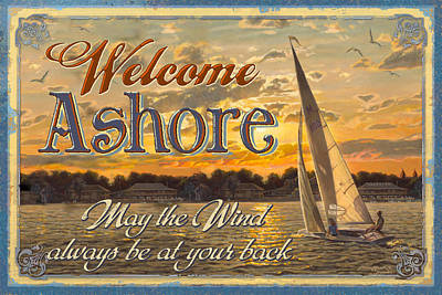 Paddler Wall Art - Painting - Welcome Ashore Sign by JQ Licensing