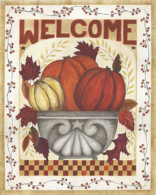 Pumpkins Painting - Welcome by Cindy Shamp