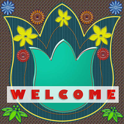 Invitation Mixed Media - Welcome Greetings Festival Celebration Invitation Party Games Show Background Designs  And Color Ton by Navin Joshi