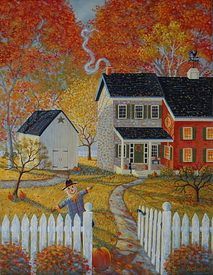 Folk Art Painting - Welcome Home by Mary Charles