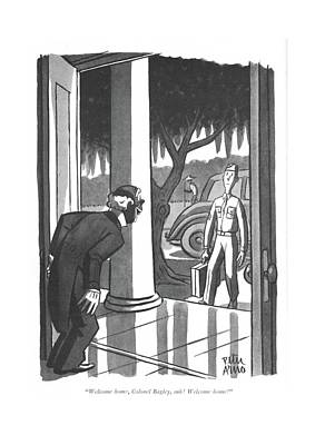 Plantation Drawing - Welcome Home by Peter Arno