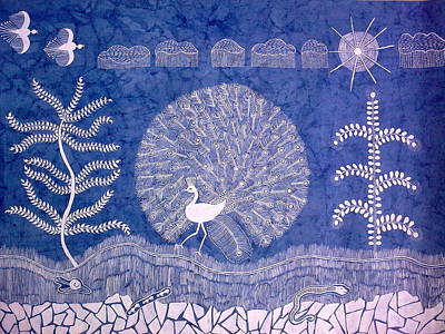 Warli Painting - Welcome Monsoon- Warli Painting Landscape Painting by Aboli Salunkhe