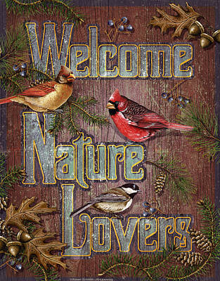 Goldfinch Wall Art - Painting - Welcome Nature Lovers 2 by JQ Licensing