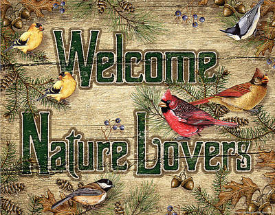 Goldfinch Wall Art - Painting - Welcome Nature Lovers by JQ Licensing