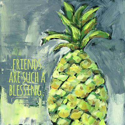 Welcome Pineapple Friends Blessings Art Print by Pamela J. Wingard