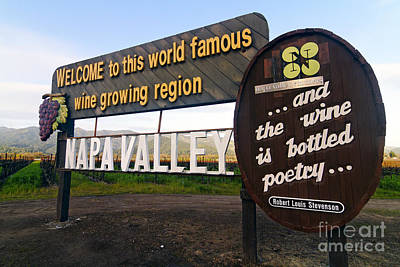 Welcome Sign To Napa Valley Art Print by George Oze