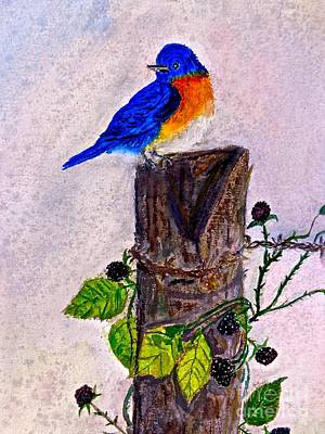Painting - Welcome Spring Little Blue Bird by Saundra Myles