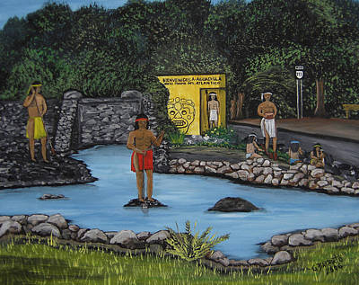 Taino Painting - Welcome To Aguadilla by Gloria E Barreto-Rodriguez