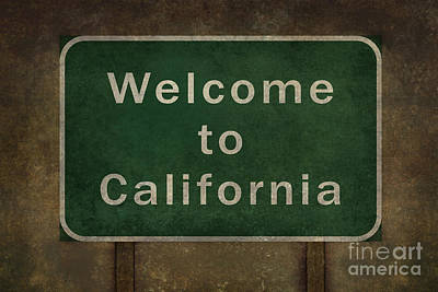 Thomas Kinkade Rights Managed Images - Welcome to California highway road side sign  Royalty-Free Image by Bruce Stanfield