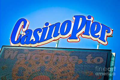 Welcome To Casino Pier Print by Colleen Kammerer