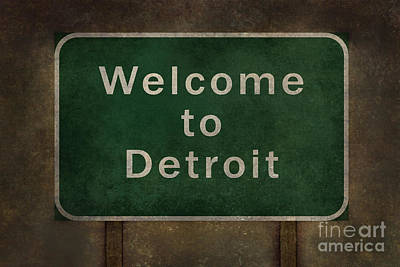 Foreboding Digital Art - Welcome To Detroit Highway Roadside Sign by Bruce Stanfield