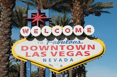 Glitter Gulch Photograph - Welcome To Downtown Las Vegas Sign, Las by Michael Defreitas