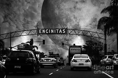 Photograph - Welcome To Encinitas California 5d24221 Black And White by Wingsdomain Art and Photography