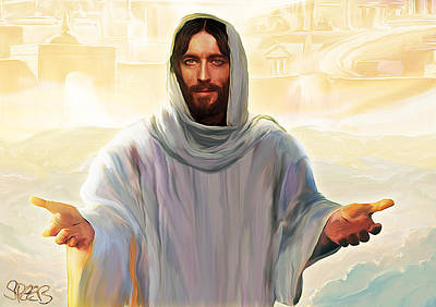 Smiling Jesus Painting - Welcome To Heaven by Mark Spears