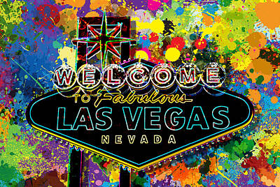 Signed Digital Art - Welcome To Las Vegas by Gary Grayson