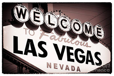 Welcome To Las Vegas Red Tone Art Print by John Rizzuto