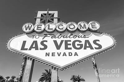 Welcome To Las Vegas Sign Black And White Art Print by Aloha Art
