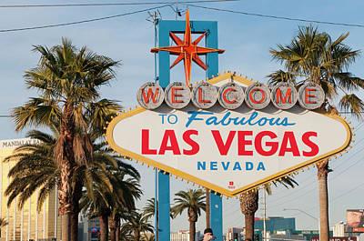 Glitter Gulch Photograph - Welcome To Las Vegas Sign, Las Vegas by Michael Defreitas