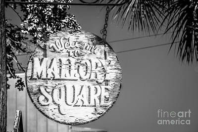 Mallory Square Photograph - Welcome To Mallory Square Key West 2  - Black And White by Ian Monk